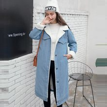 Warm Women Basic Coats Autumn And Winter Women Denim Jacket 2019 Vintage Long Sleeve Female Jeans Coat Casual Lady Long Outwear(China)