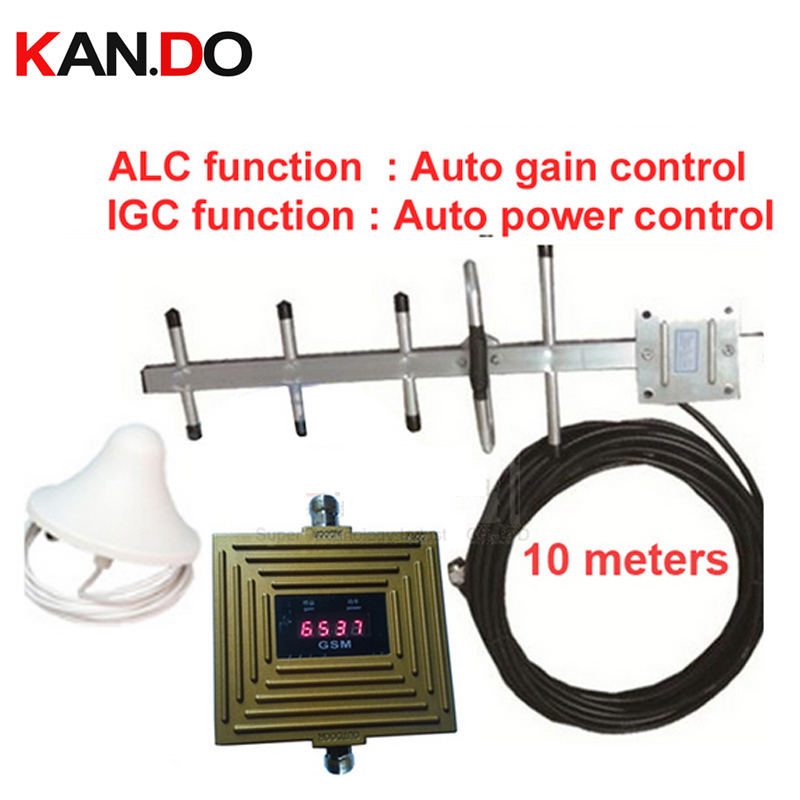 IGC Auto Gain Control+ ALC Auto Gain Control GSM Booster LCD Display Gain 65dbi GSM Repeater W/ Yagi Ceiling Antenna &10 M Cable