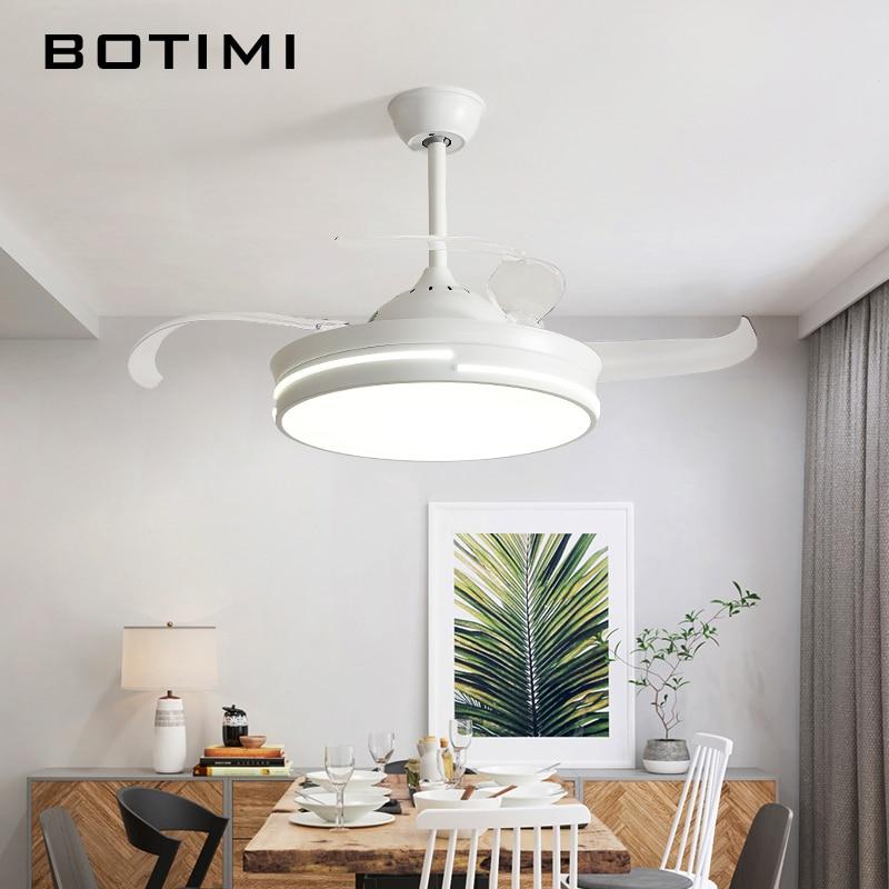 Botimi Modern 220v Led Ceiling Fans With Lights Bedroom White Ventilateur Remote Control Wooden Home Indoor Cooling Fan Lamp