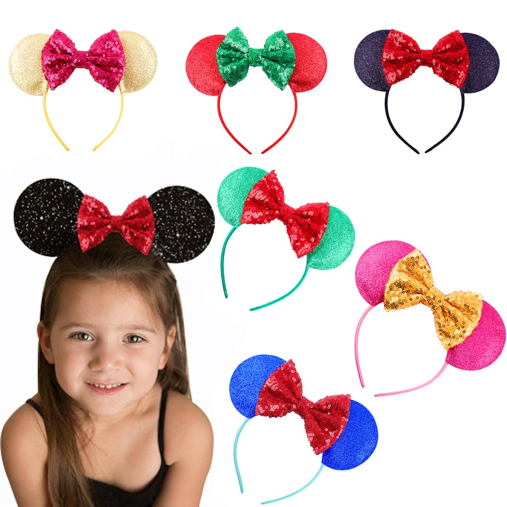 Trendy Minnie Mouse Ears Headwear Sequin Leather Bow Headband For Girls Elastic Head Wrap Glitter Hair Accessories