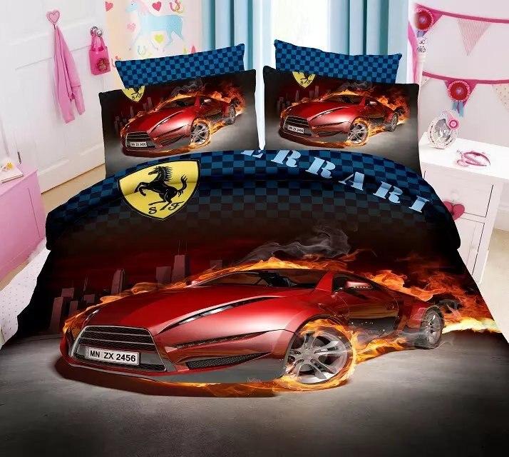 amazing 3d cartoon cars printed bedding set single twin