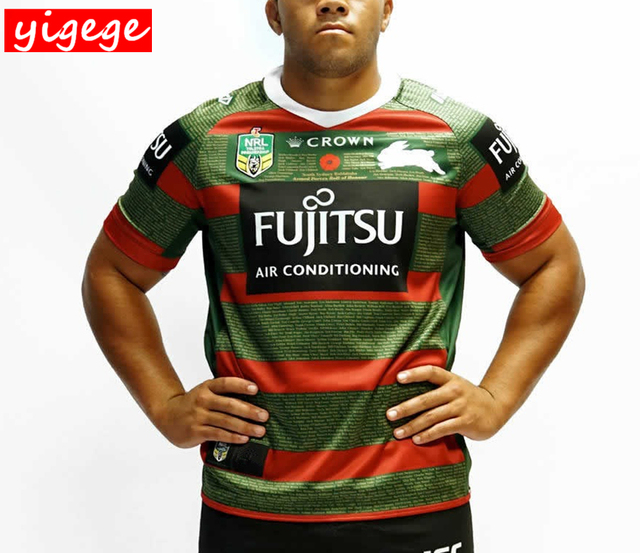 ee6c46b7516 2018 South Sydney Rabbitohs Home ANZAC rugby Jerseys NRL National Rugby  League shirt nrl jersey Australia shirts s-3xl
