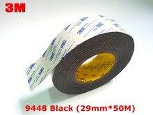 3 М Черный, 29 мм * 50 М 9448AB Черный Двухсторонней Клейкой Ткани Ленты для Промышленного Сенсорная Панель Стекло Дисплея Связь