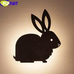 FUMAT kreatywny królik kinkiety drewniane lampy Led proste nowoczesne oświetlenie stosuje się do pokoju dziewczynki Bunny Led do sypialni Wandleuchte|Wewnętrzne kinkiety LED|   -