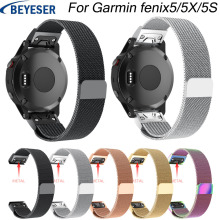 26 22 20MM Watchband Strap for Garmin Fenix5/5X 5S 3 3HR Watch Quick Release easy fit Stainless steel Milanese Loop smart bands