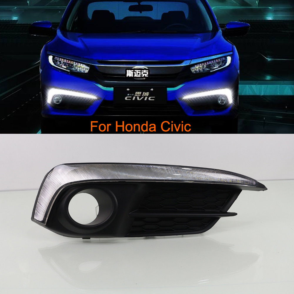Car drl led daytime running lights kit for honda civic 2016 daylight with turn signal light
