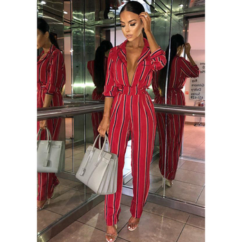 Fashion striped printed jumpsuits for women 2018 Half sleeve turn down collar long rompers womens jumpsuit Autumn new overalls 1