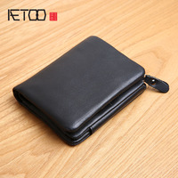 AETOO Men's Leather Wallet Zipper Short Soft Leather Duccasion 30 Percent Japanese and Korean Leather Wall Standing Wallet Youth