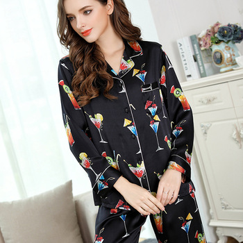 Two-Piece Pyjama Women 100% Genuine Silk Pajamas Sets Pure Silk Pajama Sleepwear Female Long Sleeve Tops+Pants Silk Pijama Suits