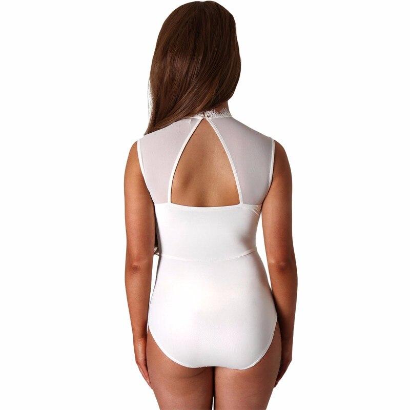 ADEWEL 2018 Sexy Women Lace Bodysuit High Neck Open Back Bodycon Body Tops Woman Bodysuit Romper Combinaison Blackwhitepink (3)