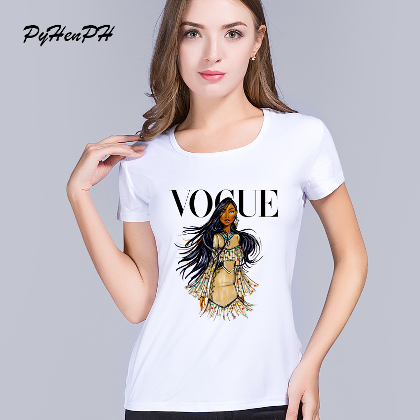 Pyhenph summer brand t shirt women fashion vogue princess for Designer tee shirts womens