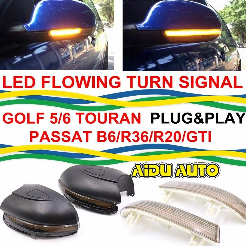 LED Flowing Rear View Dynamic Sequential MIRROR Turn Signal Light For VW Golf 5/6 JETTA MK5 Passat B6/R36/R20 /Touran