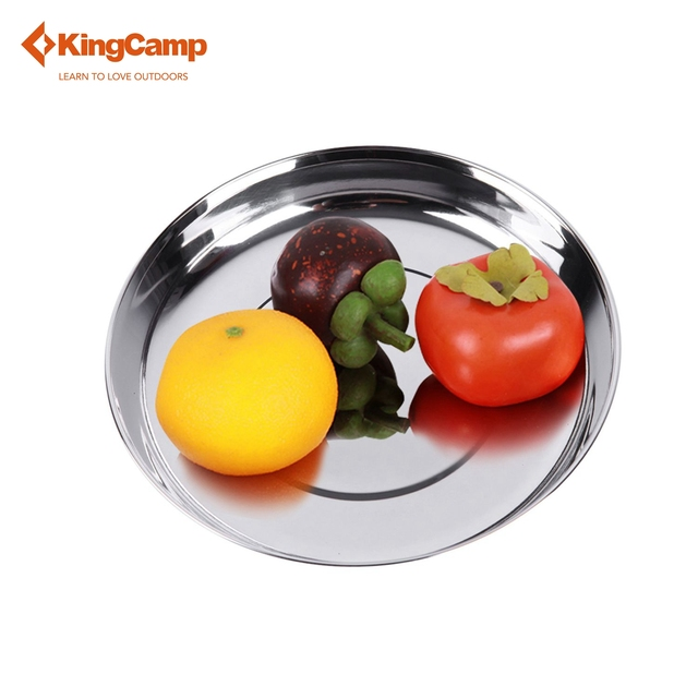 KingCamp camping set t tableware Outdoor Stainless Steel Plate Portable Camping Tableware Dia.6.97 inch