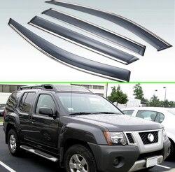 Dla Nissan Xterra N50 2005-2015 z tworzywa sztucznego na zewnątrz daszek odcienie okno Sun deszcz straży deflektor 4 sztuk