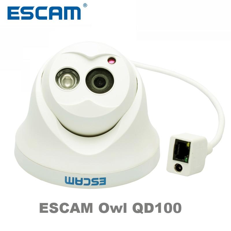 Escam OWL QD100 IP Camera Night Vision Onvif 3.6mm lens 720P H.264 1/4 CMOS P2P Mini dome Camera Security CCTV Outdoor Camera escam owl qd100 ip camera night vision onvif 3 6mm len hd 720p h 264 1 4 cmos p2p mini camera ir security cctv camera