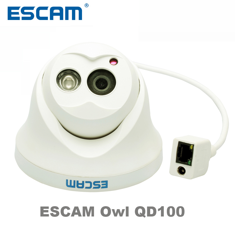 Escam OWL QD100 IP Camera Night Vision Onvif 3.6mm lens 720P H.264 1/4 CMOS P2P Mini dome Camera Security CCTV Outdoor Camera