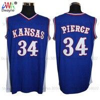 2017 Mens Dwayne Paul Pierce Jersey Cheap Throwback Basketball Jersey 34 Kansas Jayhawks KU College Retro
