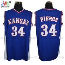 7ff759c281a 2017 Mens Dwayne Paul Pierce Jersey Cheap Throwback Basketball Jersey  34 Kansas  Jayhawks KU College Retro Blue Shirts For Men
