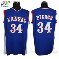 2017 Mens Dwayne Paul Pierce Jersey Goedkope Throwback Basketbal Jersey #34 Kansas Jayhawks KU College Retro Blauw Shirts Voor mannen