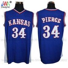 2017 Mens Dwayne Paul Pierce Jersey Cheap Throwback Basketball Jersey #34 Kansas Jayhawks KU College Retro Blue Shirts For Men