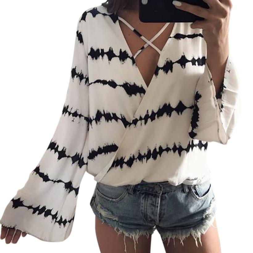 snowshine YLI Women Loose Long Sleeve Printed Tops Chiffon Casual Blouse