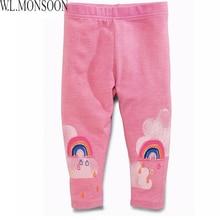 Children Pants Girls Leggings 2017 Kids Leggings Children Autumn Trousers Striped with Character Print Pantalon Enfant 2-6Y