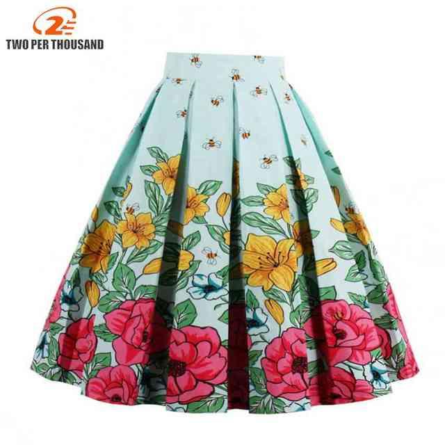 1bc6650122 1950s 60s Vintage Skirts Womens Sexy Midi Skirt Floral Print Summer High  Waist Ball Gown Skirt Tutu faldas