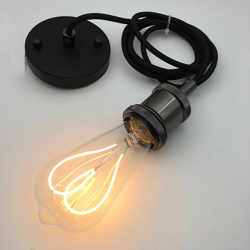 E26/ E27 Ceiling Hanging Textile Cord Lamp Holder Polished Pendant Light Fitting Kit