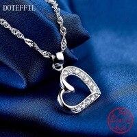 Hot Sales 925 Sterling Silver Women Necklace Fashion Heart Pendant Silver AAAA Zircon Necklace Charm Jewelry