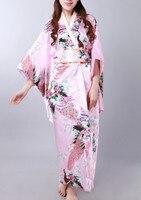 Pink Asian Japanese Vintage Original Tradition Silk Yukata Kimono Dress with Obi One size H0058 Free shipping