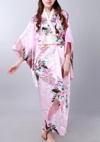 Pink Asian Japanese Vintage Original Tradition Silk Yukata Kimono Dress with Obi One size H0058 Free shipping