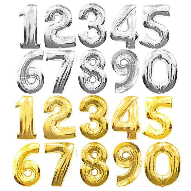 32 inches large Gold Silver Number Foil Balloons Digit air Ballons Birthday Party Wedding Decor Air Baloons Event Party Supplies