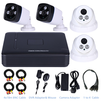 Security System 4CH 1080N Mini AHD DVR & 4 pcs 720P Nightvison AHD Camera Home Security System Surveillance Kits Phone Motion