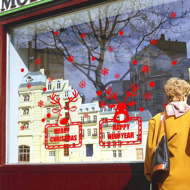 Delightful Christmas Deers Snowflake Shop Window Glass Door Wall Stickers Decoration  U0027happy New Yearu0027 Diy
