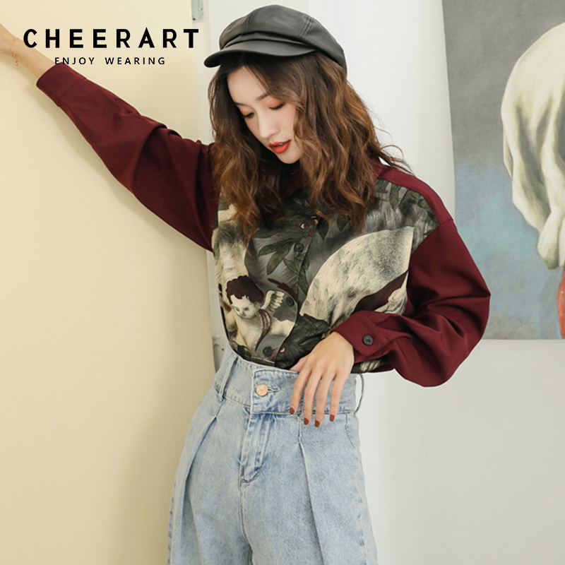 ef517b8da44600 Detail Feedback Questions about Cheerart Thick Vintage Shirt Women Dark Red Print  Long Sleeve Oversized Blouse Ladies Top Femme Clothes on Aliexpress.com ...