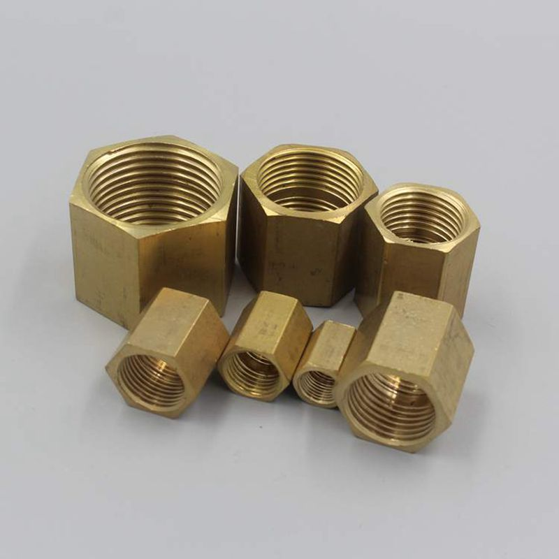 1 4 BSP Female Thread DN8 Brass Pipe Fittings Hex Nut Copper Rod Connector Coupling Full