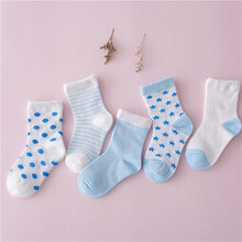 цена 5 Pairs Boys Girls Combed Cotton Socks Comfortable Breathable NewBorn Infant Toddler Kids Sock For 0-5 Years Old YJS Dropshp