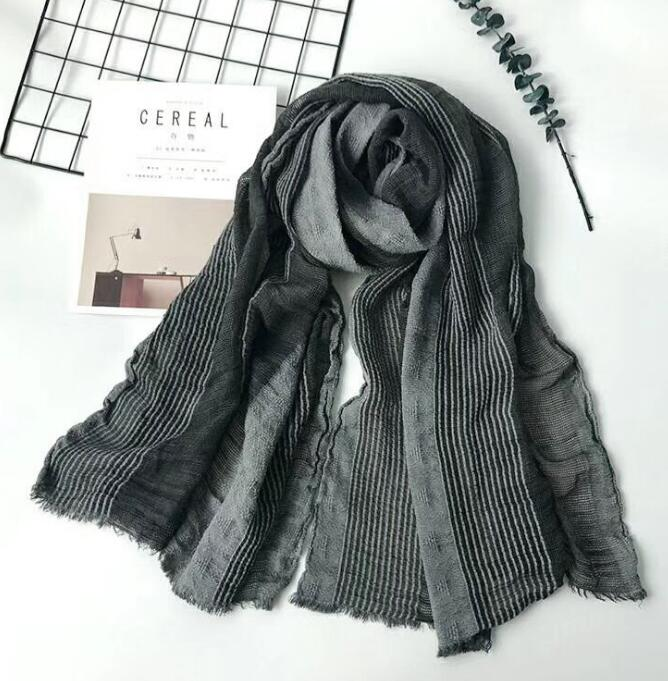 Winter Scarf Linen Shawl Plaid Striped Cotton Fashion And Long Men Bubble Japanese-Style