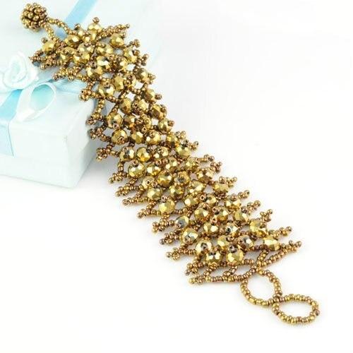 golden handmade beaded friendship bracelet jewelry for summer wide beaded bracelet , BR-1202E