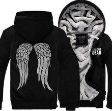 The Walking Dead Hoodie Zombie Daryl Dixon Wings Winter Fleece Mens Sweatshirts USA Size Outwear Big Yards