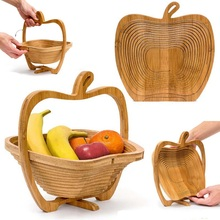 Bamboo Basket Collapsible Home Fashion Creative Apple Shaped Kitchen Fruit Storage Centerpiece Decor Travel Crafts