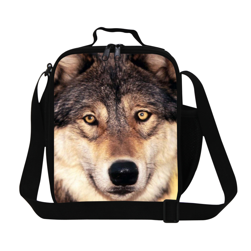 Children Cool Wolf Kids Cooler Lunch Bags Mens Animal Printing Fresh Picnic Bags School Meal package Lunchbox Cartoon Food Bag
