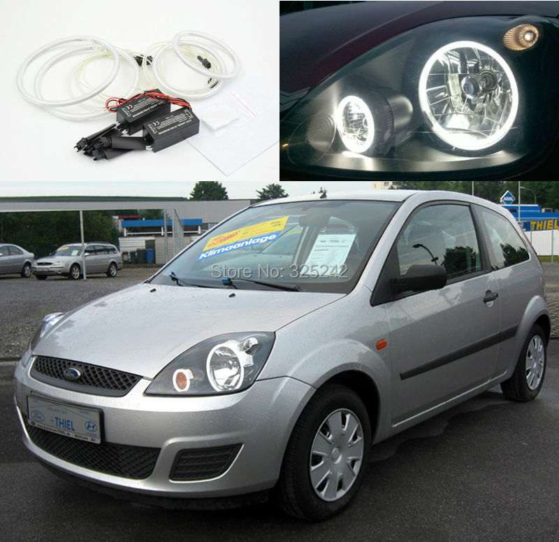 for ford fiesta facelift 2005 2006 2007 2008 excellent angel eyes kit ultrabright illumination. Black Bedroom Furniture Sets. Home Design Ideas