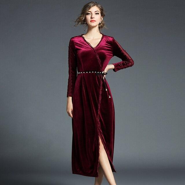 6346eeeed35cb جديد 2019 الربيع الأحمر الأسود المخملية اللباس المرأة مثير V الرقبة الديكور  الخصر الدانتيل يصل سبليت