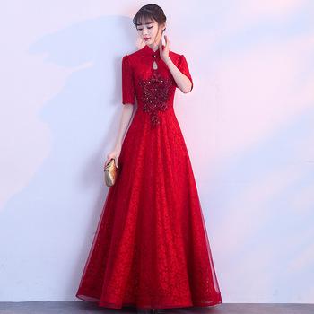 2019 lato tradycyjny strój chiński Qipao długie Qipao projekt krótkim rękawem chiny suknie wieczorowe sukienki druhen wina tanie i dobre opinie StarYi Princess Poliester spandex Lan SLN 11 Satin Cheongsams Women Shanghai China (Mainland) Chinese Traditional Dress
