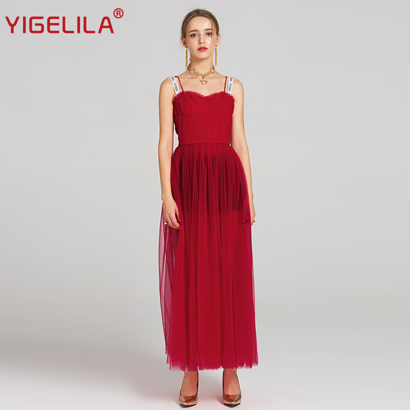 YIGELILA 2019 Summer Women Fashion Letters Spaghetti Strap Backless Empire Sexy Perspective Mesh Party Long Dress 62840