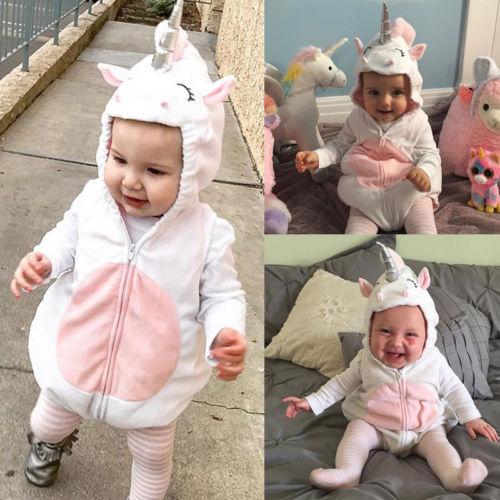 ff3acdb6085b Cute Toddler Newborn Baby Girls Unicorn Fleece Romper Jumpsuit ...