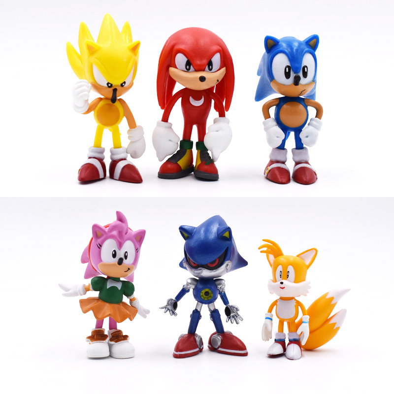 6Pcs/lot Sonic 6cm Game Sonic Toys Action Figure  PVP Anime Sonic Toy Gift For Kids Free Shipping