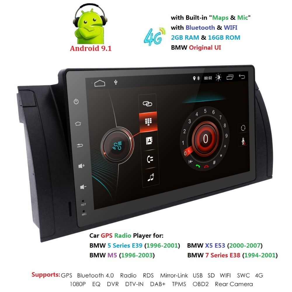 9 pouces 1024x600 HD écran tactile 1 din Android 9.1 voiture multimédia Radio stéréo pour BMW E39 E53 X5 Wifi 4G Bluetooth DVR RDS USB - 4