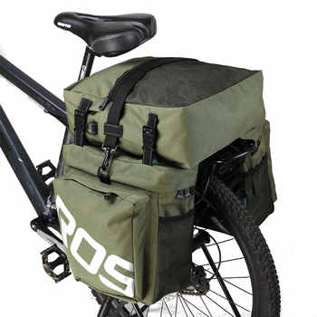 ROSWHEEL 3 In 1 Bicycle 35L Road Bike MTB Rear Rack Bag New Bicycle Luggage Carrier Bag Army Green Bike Pannier With Rain Cover - DISCOUNT ITEM  30% OFF All Category